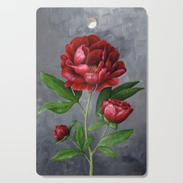 Red Peony Flower Painting Cutting Board