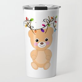 Teddy bear with deer ears and colorful light bulb vector greeting card Travel Mug