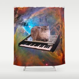 Cat on a Keyboard in Space                                                       Shower Curtain