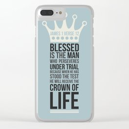 James 1 verse 12 - typographic Bible verse Clear iPhone Case