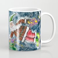santa Mugs featuring Santa by Shelley Ylst Art