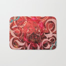 Red Octopus Updated Carlita Peartree Watercolor Stamp Print Bath Mat