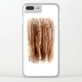 Kiss Me - Vintage - Modern Art Abstract - Picasso Style Clear iPhone Case