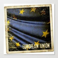 Grunge sticker of European Union flag Canvas Print
