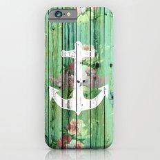 Vintage Floral Nautical Anchor Green Beach Wood Slim Case iPhone 6