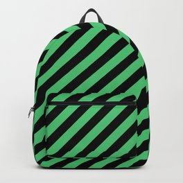 Emerald Green and Black Diagonal RTL Stripes Backpack