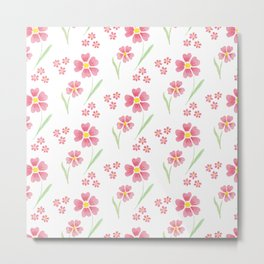 Watercolor floral pattern -small pink flowers Metal Print
