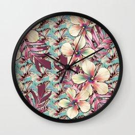 Vintage Hibiscus Ohana Wall Clock