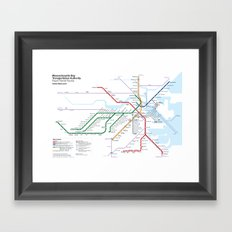 Boston Rapid Transit Map - Without Bus Routes Framed Art Print