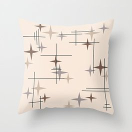 Mid Century Modern Stars Beige Throw Pillow