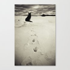 Winter landscape with dog  Canvas Print