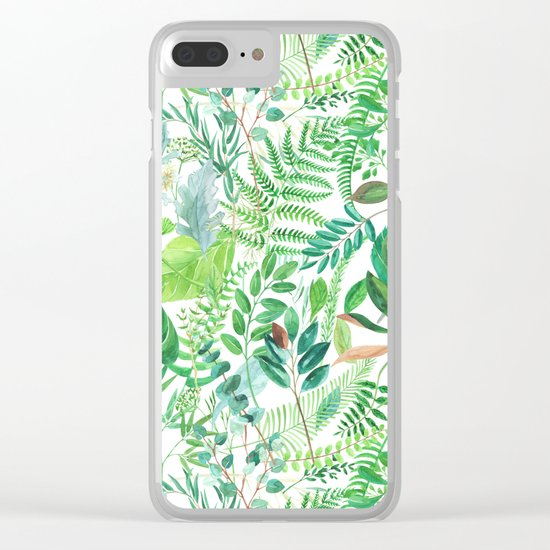 greenery watercolor pattern Clear iPhone Case