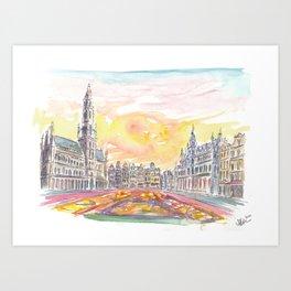 Grand Place Brussels Belgium with Flower Carpet Art Print