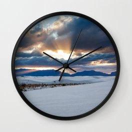 One More Moment - Sunbeams Burst From Clouds Over White Sands New Mexico Wall Clock