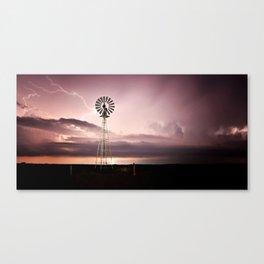 Windmill Lightening Strike Canvas Print