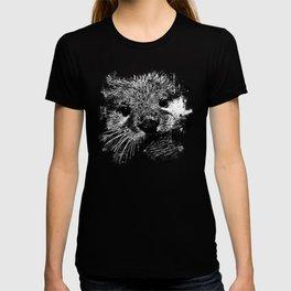 furry fish otter splatter watercolor black white T-shirt