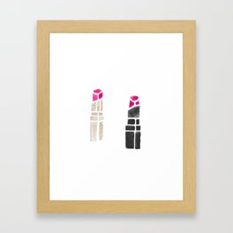 Trendy Lipstick Watercolor Duo Framed Art Print