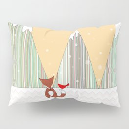 Winter in the Air, Woodland Animals Landscape, Itaya Pillow Sham