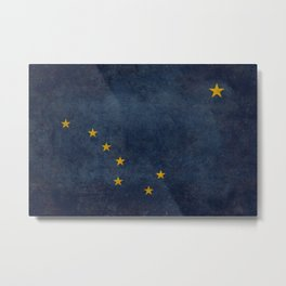 Alaskan State Flag, Distressed worn style Metal Print