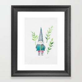 Summer Gnome - Green Leaves Framed Art Print