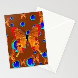 ORANGE BUTTERFLIES BLUE PEACOCK EYES ON CHOCOLATE Stationery Cards