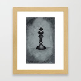 Black Chess Piece | Watercolor Painting Framed Art Print