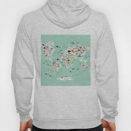 Cartoon animal world map for children, kids, Animals from all over the world, back to school, mint Hoody