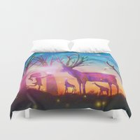 magical girl Duvet Covers featuring Girl meeting magical forest animals by Psychedelic Astronaut