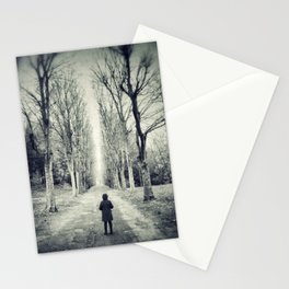 Girl alone in the street Stationery Cards