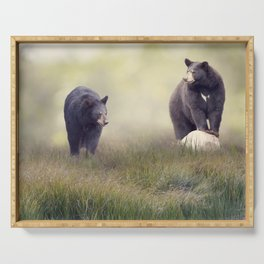 Two Black bears in the grass near water Serving Tray