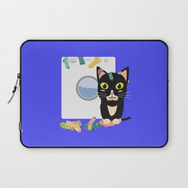 Cat with washing machine   Laptop Sleeve