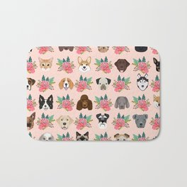 Dogs and cat breeds pet pattern cute faces corgi boston terrier husky airedale Bath Mat
