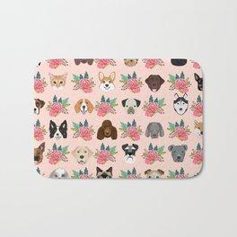 Dogs and cat breeds pet pattern cute faces corgi boston terrier husky airedale Bath Mat