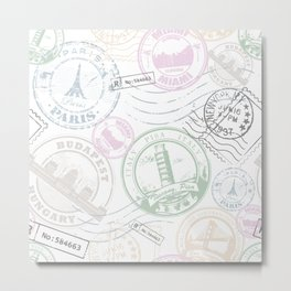 Stamp Travel Metal Print