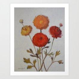 Orange and Red Anemones Flower Painting Art Print