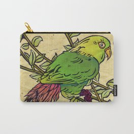 Parrot Linocut Carry-All Pouch