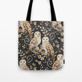 Wooden Wonderland Barn Owl Collage Tote Bag