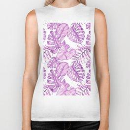 Purple violet pink watercolor tropical monster leaves Biker Tank