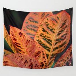 Orange Croton Leaves Wall Tapestry