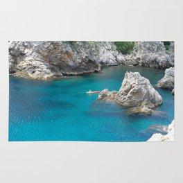 Kayak Floating in Dubrovnik, Croatia Rug