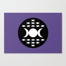 Triple Moon Goddess - White, Black and Ultra Violet Canvas Print