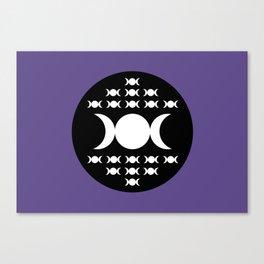 Triple Moon Goddess - White, Black and Ultra Violet Canvas Print