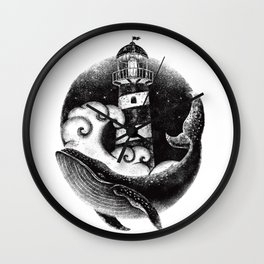 WHALE & LIGHTHOUSE Wall Clock