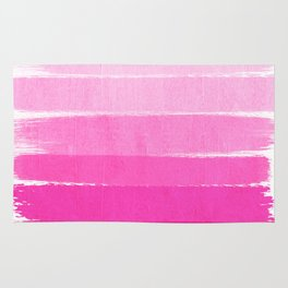 Luca - abstract painted ombre pink stripes striped minimalist art decor Rug