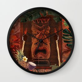 Forbidden Luau Tiki Party Wall Clock
