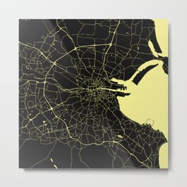 Dublin Street Map Black and Yellow Metal Print