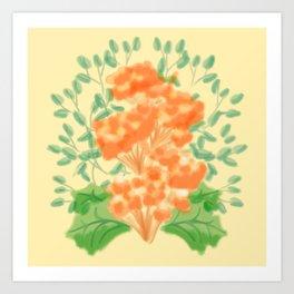 Symmetrical Flowers Yellow Orange Green Art Print