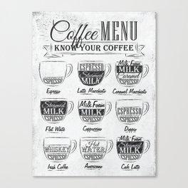 Coffee menu coal Canvas Print