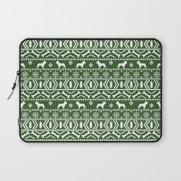 Boston Terrier fair isle dog pattern silhouette christmas sweater green and white Laptop Sleeve