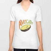 avocado V-neck T-shirts featuring Avocado by Ken Coleman